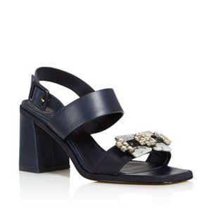 Tory Burch Blue Delaney Block Heel